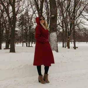 Long Red Faux Fur Lined Trench Coat L Windsor Bay